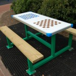 childrens picnic bench with game boards
