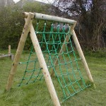climbing net frame in play area