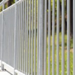 white steel fence railing