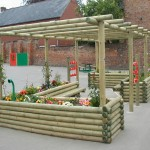 wooden pergolas with planters