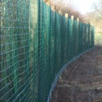 Green Weld Mesh Fencing Along Dirt Track