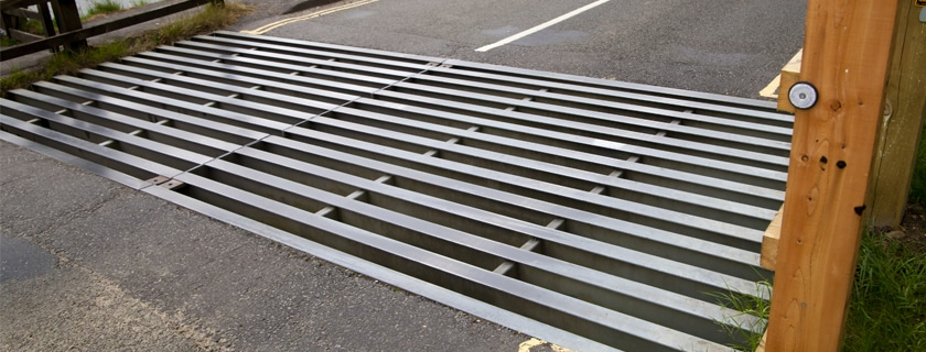 Metal Cattle Grid On Road