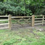 Horse gate with post and rail fencing and netting