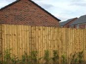 Timber feather edge fencing around housing