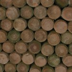 Creosote stacked wooden fence posts