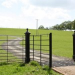 Deer gate for estate fencing on dirt path with deer grid