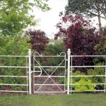 White estate fencing gate on grass