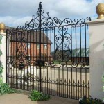 Georgian decorative metal gate on driveway