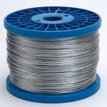 Reel of galvanised wire for electric fencing