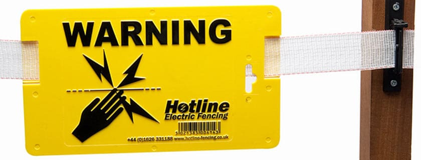 Electric fencing yellow warning sign from Hotline