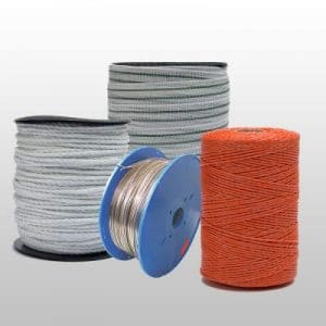 Reels of tape, rope & wire for electric fencing