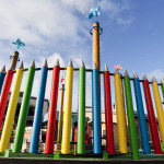 Pencil style railings in bright colours for school playground