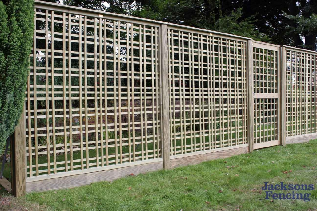 Tartan trellis panels on lawn