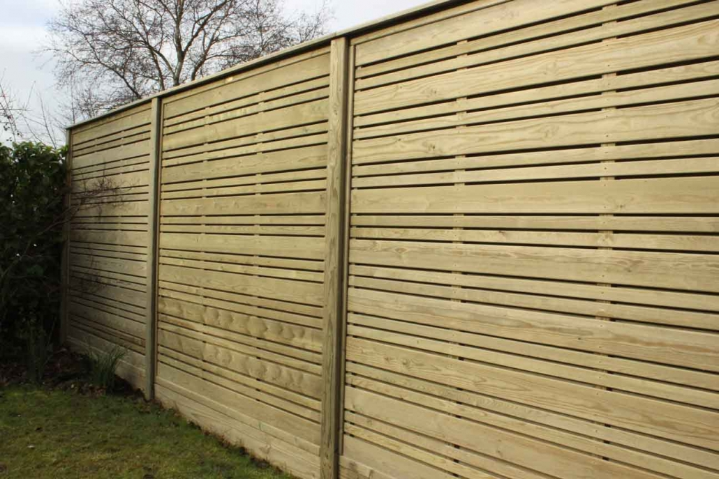Wooden urban fence panels in garden